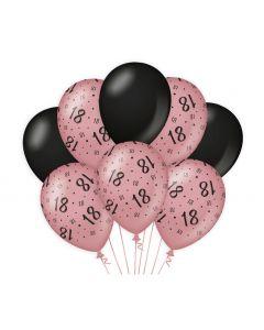 18 Jaar - Ballonnen Roségoud / Zwart