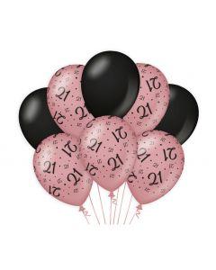 21 Jaar - Ballonnen Roségoud / Zwart
