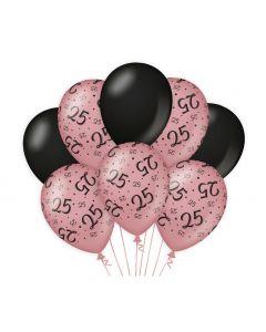 25 Jaar - Ballonnen Roségoud / Zwart