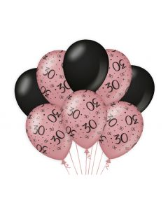 30 Jaar - Ballonnen Roségoud / Zwart