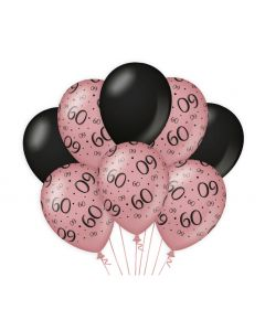 60 Jaar - Ballonnen Roségoud / Zwart