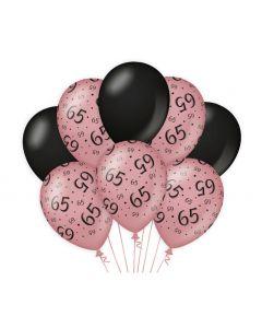 65 Jaar - Ballonnen Roségoud / Zwart