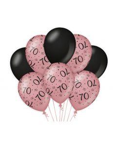 70 Jaar - Ballonnen Roségoud / Zwart