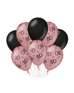 80 Jaar - Ballonnen Roségoud / Zwart