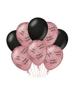 Ballonnen Roségoud / Zwart - Happy Birthday