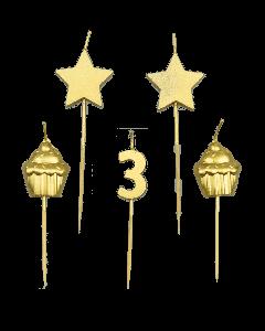 3 Jaar - Taart Kaarsjes Goud