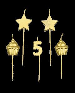5 Jaar - Taart Kaarsjes Goud