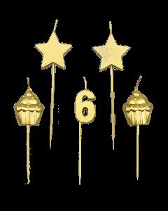 6 Jaar - Taart Kaarsjes Goud