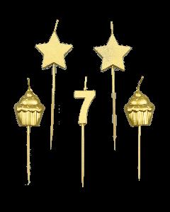 7 Jaar - Taart Kaarsjes Goud