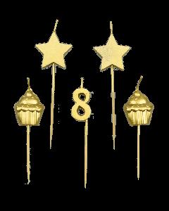 8 Jaar - Taart Kaarsjes Goud