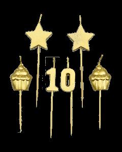 10 Jaar - Taart Kaarsjes Goud