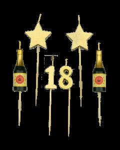 18 Jaar - Taart Kaarsjes Goud