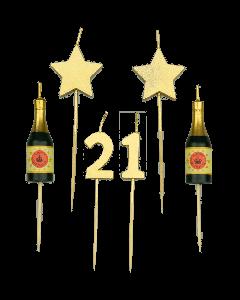 21 Jaar - Taart Kaarsjes Goud