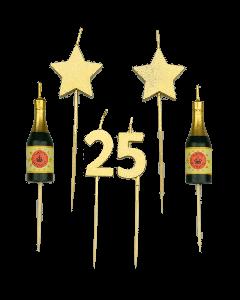 25 Jaar - Taart Kaarsjes Goud