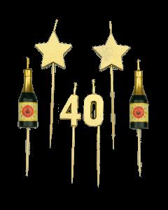 40 Jaar - Taart Kaarsjes Goud