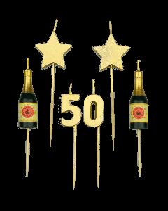 50 Jaar - Taart Kaarsjes Goud