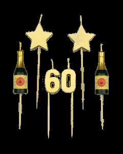 60 Jaar - Taart Kaarsjes Goud