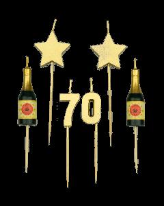 70 Jaar - Taart Kaarsjes Goud