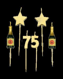 75 Jaar - Taart Kaarsjes Goud