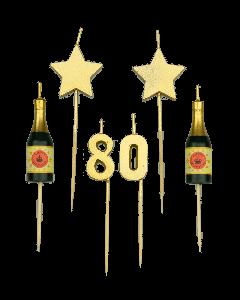 80 Jaar - Taart Kaarsjes Goud