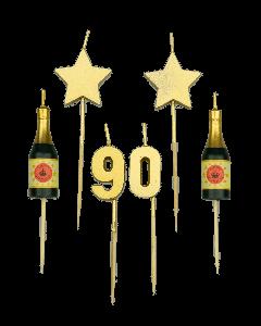 90 Jaar - Taart Kaarsjes Goud
