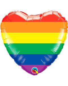 Hart Ballon Folie Rainbow Stripes heartshape