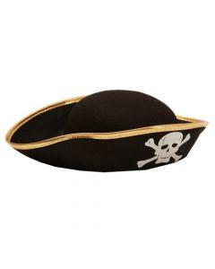 Piratenhoed Vilt zwart-Goud Kids