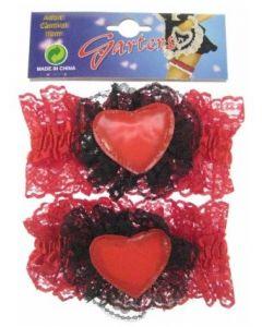 Kousenband Rood/Zwart met hartje per paar