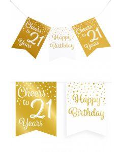 21 Jaar - Vlaggenlijn Vaandel Goud/Wit