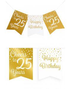 25 Jaar - Vlaggenlijn Vaandel Goud/Wit