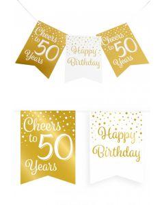 50 Jaar - Vlaggenlijn Vaandel Goud/Wit