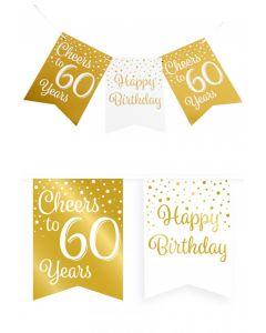 60 Jaar - Vlaggenlijn Vaandel Goud/Wit