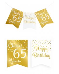65 Jaar - Vlaggenlijn Vaandel Goud/Wit