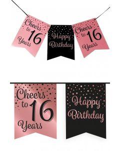 16 Jaar - Vlaggenlijn Vaandel rose/zwart