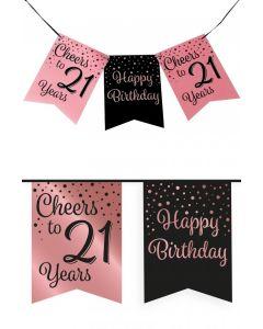 21 Jaar - Vlaggenlijn Vaandel rose/zwart