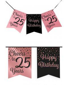 25 Jaar - Vlaggenlijn Vaandel rose/zwart