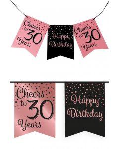 30 Jaar - Vlaggenlijn Vaandel rose/zwart
