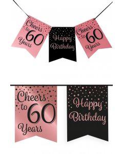 60 Jaar - Vlaggenlijn Vaandel rose/zwart