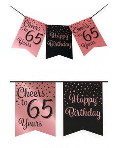 65 Jaar - Vlaggenlijn Vaandel rose/zwart