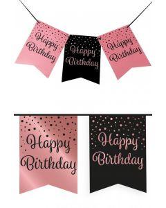 Vlaggenlijn Vaandel rose/zwart Happy Birthday