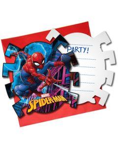 Spiderman Uitnodigingen - 6 Stuks