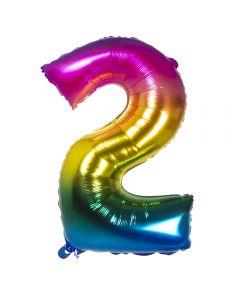 Folieballon Regenboog Cijfer 2 - 86Cm