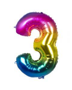 Folieballon Regenboog Cijfer 3 - 86CM