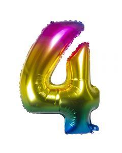 Folieballon Regenboog Cijfer 4 - 86CM