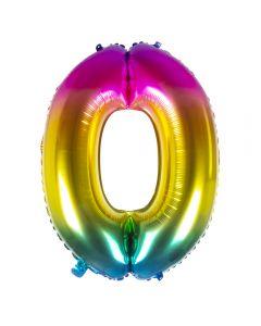 Folieballon Regenboog Cijfer 0 - 86Cm