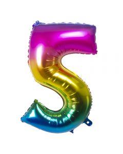 Folieballon Regenboog Cijfer 5 - 86CM