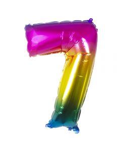 Folieballon Regenboog Cijfer 7 - 86CM