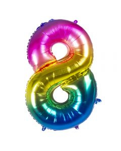 Folieballon Regenboog Cijfer 8 - 86CM
