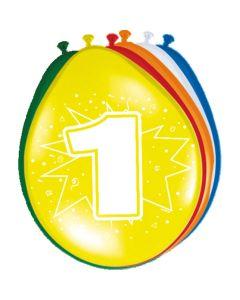 Leeftijdballonnen 1 Jaar 8 Stuks