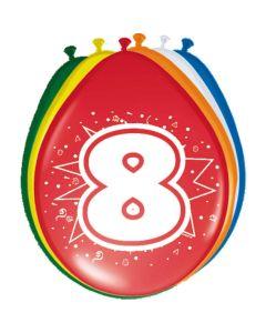 Leeftijdballonnen 8 Jaar 8 Stuks